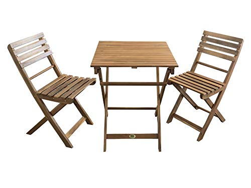 REDI GROUP Set da Giardino Bistrot 3 Pezzi (2 Sedie + Tavolo) in Legno di Acacia, Pieghevole - Giardino, Balcone, Terrazza, Bar, Ristorante