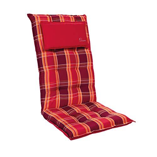 Homeoutfit24 Sylt - Cojín Acolchado para sillas de jardín, Hecho en Europa, Respaldo Alto con cojín de Cabeza extraíble, Resistente Rayos UV, Poliéster, 120 x 50 x 9 cm, 1 Unidad, Rojo a Cuadr