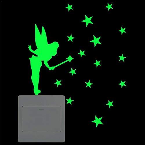 Forwei Leuchtende Schalter Aufkleber Wohnkultur Cartoon Glowing Wandaufkleber Lichtschalter oder die Wand Wandtattoo Fluoreszierende leuchtende Sticker