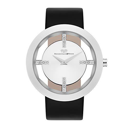 Rhodenwald & Söhne Lucrezia Damenuhr Edelstahl Silber 3 ATM verziert mit Kristallen von Swarovski® Lederarmband schwarz - Fashion-Uhr für Frauen in Skeletonoptik
