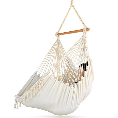 Sorbus Hammock Chair for Bedrooms, Indoor or Outdoor - Extra Long Swing Bed Seat - Quality Cotton for Superior Comfort & Durability - Swinging Chairs for Yard, Porch Spaces (Beige)