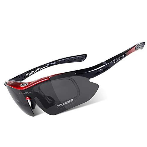 OPEL-R Gafas Ciclismo Motocross Anti-UV400 Gafas De Sol Polarizadas 5 Lentes para MTB Correr, Pescar, Conducir, Deportes Al Aire Libre (REDBLACK)