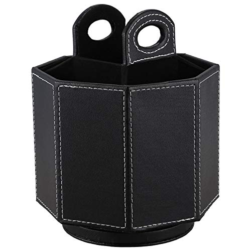 Kuinayouyi PU cuero giratorio Control remoto titular caja de almacenamiento para TV teléfono remoto gafas negro liso armadura