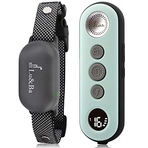 Lu&Ba Dog Shock Collar, Rechargeable Dog Training Collar with Remote 3000ft Waterproof E Collar with 3 Safe Mode Beep Vibration and 16 Shock Level for 10-110lb Small Medium Large Dogs