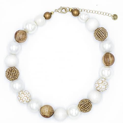 Feliss Collar de mujer para mujer, cadena de perlas multicolor, color crema, beige y dorado, 45 cm de largo, joya regalo para novia, madre, regalo de cumpleaños