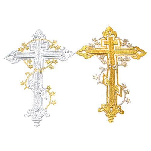 Monrocco 2 pcs Gold Metallic DIY Ethnic Cross Embroidered Patch Clothing Dress Costume Iron-on Decorative Motif Patch Gold,Silver Cross - Embroidered Iron On or Sew On Patch