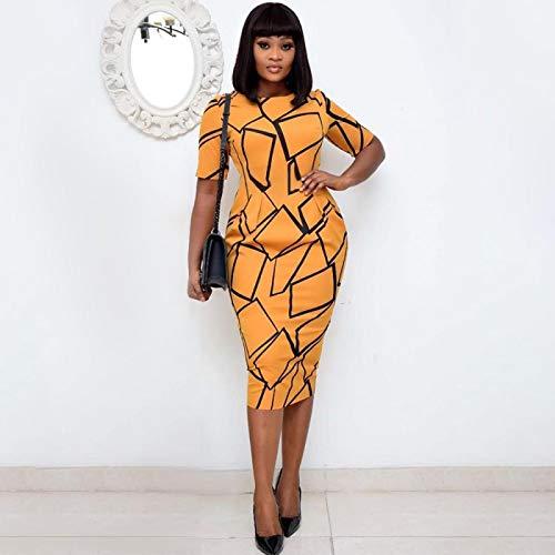 Hübsche Kleid Kleider Dress Damen Bedruckte Kleider Kurzarm Bleistift Elegantes Büro Lady Classy Frauen Kleid SlimModest Female L Orange