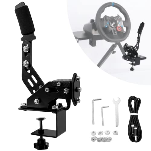 Anman SIM USB Handbrake for PC Windows 14 Bit Professional Gaming Driving Shifter fit Racing Games Logitech G920 G923 Thrustmaster Peripherals Dirt Rally(with Clamp)