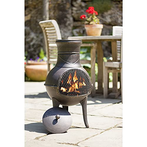 La Hacienda Clifton Steel Chimenea Garden Patio Heater Log Burner - Pewter