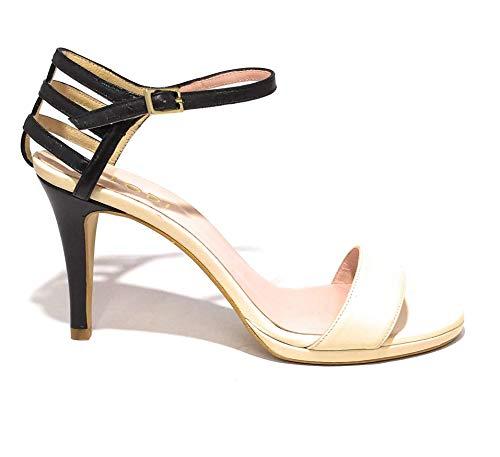Lodi Sandalen zum Anziehen. 100 % hergestellt in Spanien., Beige - Schwarz  - Größe: 41 EU