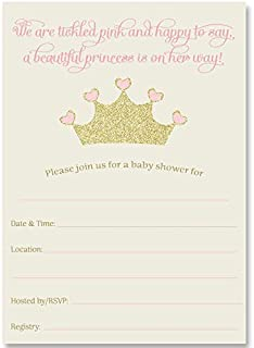 Fill in The Blank Baby Shower Invitations, Princess Baby Shower, Gold and Pink, Gold and Pink Princess, Girl, Baby Shower, 24 Pack Fill in The Blank Princess Invitations with White Envelopes