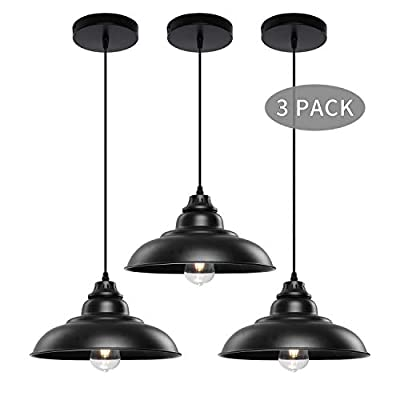 Pendant Lights, Lika Industrial Barn Ceiling Light Fixtures Black Hanging Pendant Lighting for Kitchen Island, Dining Room, Foyer (Black and Copper (One Pack))