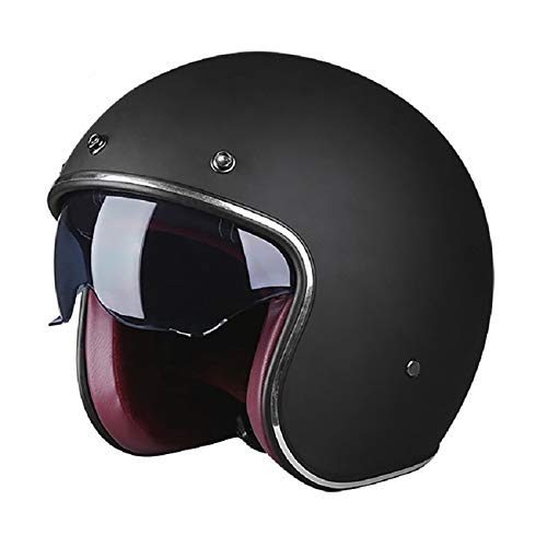 HZIH Cascos Abiertos de Moto 3/4 Half-Helmet Cascos de Motocicleta Retro Medio Casco Cruiser Chopper Scooter Piloto Jet Casco 3/4 Adulto Four Seasons Safety Collision Cap F,L=57~58cm