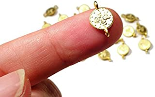 Foxy Findings Tiny Ottoman Matte Finish 24k Gold Plated Brass Replica Coin Connector Charm 12mm Set of 10 CCG004