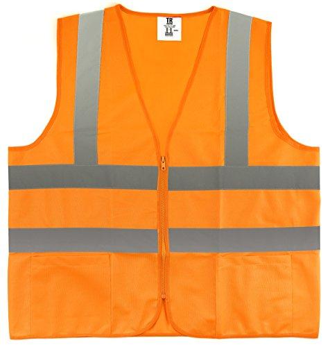 ÿTR Industrial Orange Safety Vest, Medium, 2 Pockets Knited