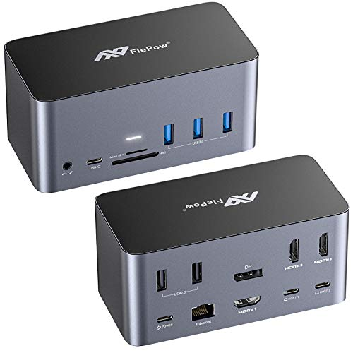 USB C Hub Docking Station - 17-in-1-Dockingstation mit 4K Quad Display Ausgang f¨¹r MacOS und Windows (DP & 3 HDMI, 100 W PD, 3 USB 3.0, 2 USB 2.0, Gigabit-Ethernet, SD / Micro SD, 4 Typ C, AUX )