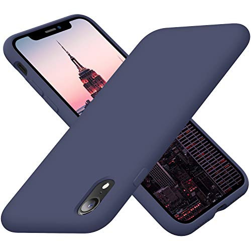 Cordking iPhone XR Phone Case, Silicone Ultra Slim Shockproof Phone Cover with [Soft Anti-Scratch Microfiber Lining], 6.1 inch, Navy Blue