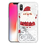 Yoedge Funda para Apple iPhone X/XS, Glitter Liquida Silicona Cárcasa Navidad con Dibujos Bling Brillante Antigolpes de Diseño TPU Case Fundas para Movil Apple iPhone X/XS. (Santa Claus)