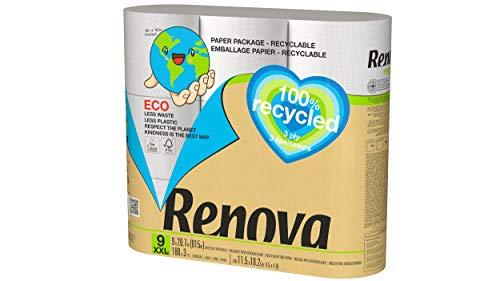 Renova Papel Higiénico 100% Recycled - 9 Rollos 100% Reciclados & Envueltos en Papel Sin Plásticos