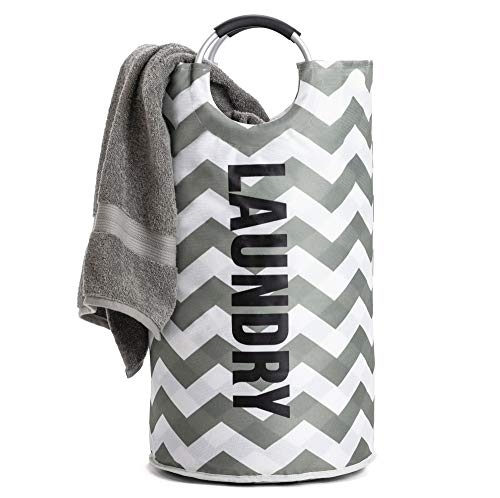 Gorilla Grip Premium Laundry Basket Heavy Duty Clothes Bag 82L Durable Handles Easy Carry Collapsible Cloth Baskets Hampers for Dorms Foldable Fabric Hamper Bags 15L x 28H Chevron Gray White