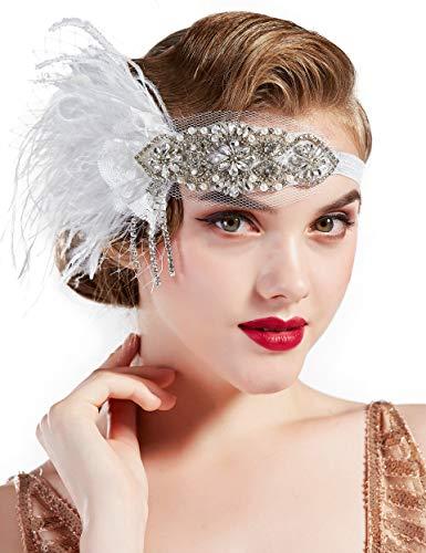 Coucoland Bandeau à plumes style années 1920 avec plumes et cristaux Style vintage Gatsby le Magnifique Blanc