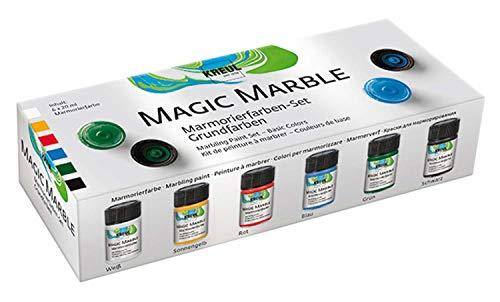Kreul 73600 - Magic Marble Marmorierfarbe, Grundfarben Set, 6 x 20 ml Farbe in weiß, gelb, rot, blau, grün und schwarz, zum Tauchmarmorieren von Holz, Glas, Kunststoff, Papier, Metall und Styropor
