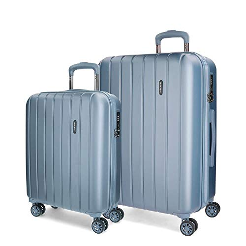 Movom Wood Kofferset Grau 55/70 cms Hartschalen ABS TSA-Schloss 119L 4 Doppelräder Handgepäck