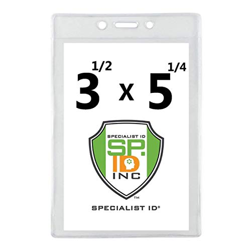 """5 Pack - 3 1/2"""" X 5 1/4"""" Large Badge Holders - Clear Plastic Name Tag Sleeves, Vaccination Card Protector, Concert Ticket, Press Pass or Sporting Event Holder by Specialist ID (4X6 Outside)"""