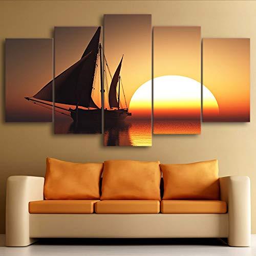 Cczxfcc muurkunst Hd print decoratie 5 stuks golven zee canvas schilderij landschap modulaire woonkamer fotolijst kunstwerk poster 40 x 60/80/100 cm, geen lijst.