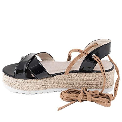 No es lo Mismo - Sandalias de Yute Mujer con Plataforma   Pala Punta Abierta Verano 2020 Esparto Sandalia Moda   Negro Dorado Plateado Clasic Color Liso Talla del 35 Al 41