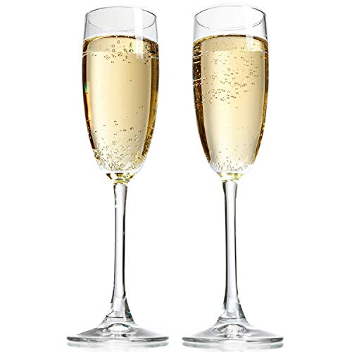 Taylor'd Milestones 8 oz Champagne Flutes. Set of 2 Crystal Clear Champagne Glasses Made in USA. Perfect size for all Sparkling Wines and Bubbly Beverages.