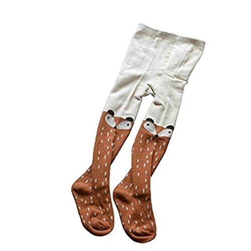 Yosemite bebé niña medias Warm Cartoon Fox Color Block calcetín de medias pantalones de medias, marrón