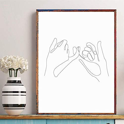 ピンキー誓う約束壁アートキャンバスポスタープリント指線描画絵画黒白ミニマリスト壁絵家の装飾-40×60センチ×1個フレームなし