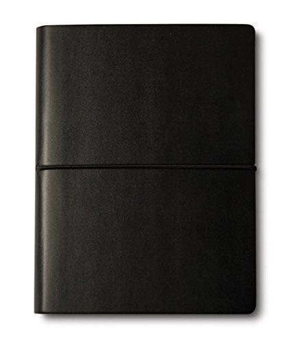 CIAK Kleines Leder-Notizbuch schwarz mit liniertem elfenbeinfarbenen Papier