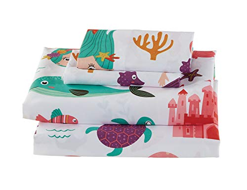 Luxury Home Collections Girls/Teens 4 Piece Queen Size Sheet Set Mermaid Sea Horse Turtles Star Fish Dolphins White Purple Pink Teal