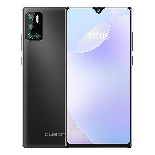 CUBOT P40 Smartphone sin contrato, pantalla Dot Drop de 6,2 pulgadas, memoria de 128 GB (256 GB ampliable), móvil Android 10 con cámara AI Quad de 4200 mAh, gran batería, versión alemana (negro)