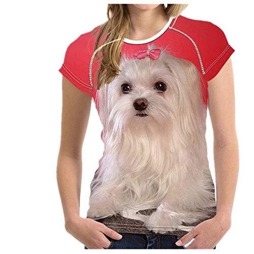 N\P Camiseta de manga corta con estampado de perro maltés para mujer de verano transpirable casual camiseta para niñas - - X-Large