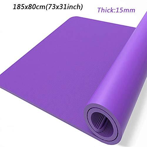 RNNTK Plegable Aire Libre Fitness Colchoneta Gimnasia Pilates,Salud Entrenamiento Colchoneta De Ejercicios,Natural Caucho 15mm Espesar,Antideslizante Colchoneta De Yoga Interior Púrpura (73x31inch)