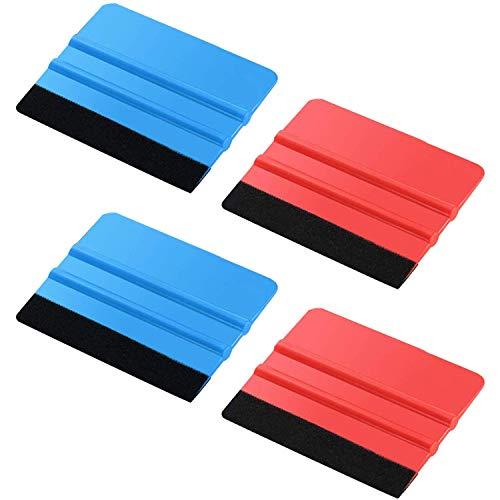 Blulu Felt Edge Squeegee Car Wrapping Tool Kits, 4 Inch Felt Squeegee Applicator Tool for Car Vinyl Wrap, Window Tint, Wallpaper, Decal Sticker Installation (4)