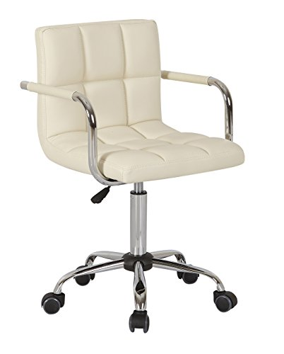 HNNHOME® Height Adjustable Swivel PU Leather Computer Desk Chair With Armrest for Home Office Cream