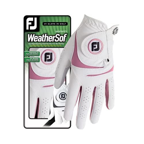 Footjoy Weathersof Golfhandschuhe, Damen, Weiß/Rosa, S