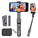 Zhiyun Smooth X Selfie Stick Tripod Gimbal Foldable Stabilizer for Smartphone, Extendable Stabilizer Handheld Gimbal for iPhone Samsung Android Phones Youtuber Vlog Live Streaming Video Making (Grey)