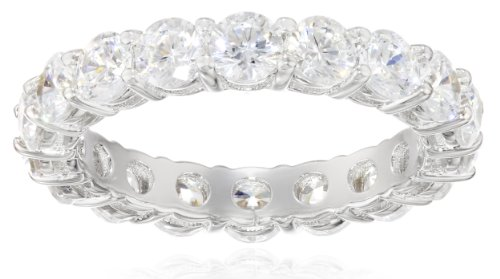 Platinum-Plated Sterling Silver All-Around Band Ring set with Round Swarovski Zirconia (3 cttw), Size 8