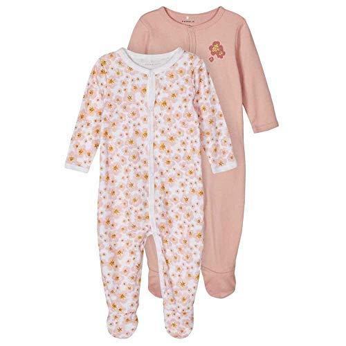 NAME IT Baby-Mädchen Nbfnightsuit 2p W/F Silver Pink Noos Kleinkind-Schlafanzüge, 80 (2er Pack)
