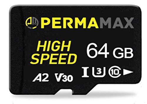 PERMAMAX Micro SD Card Speicherkarte 64 GB A2 V30 U3 C10 4k für GoPro, Switch,Kamera, Handy (64 GB)