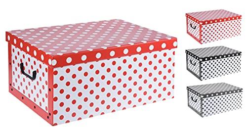 Spetebo 3er Set Aufbewahrungsbox in 3 Farben (Gepunktet) mit jeweils 45 Liter Inhalt - Aufbewahrungsbox