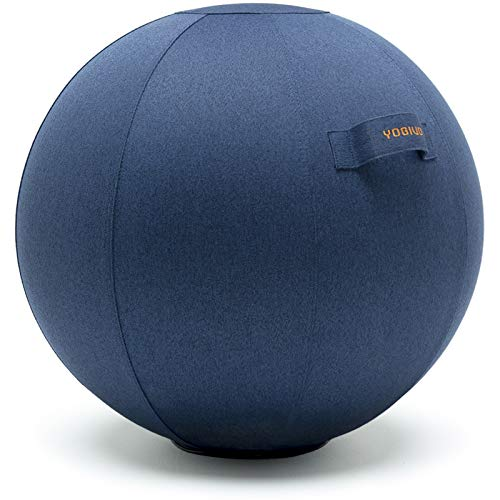 YOGIVO Sitting Ball Chair for Office and Home, Pilates Exercise Yoga Ball with Cover for Balance, Stability and Fitness, Ergonomic Posture Exercise Ball Seat with Handle and Pump (Dark Blue, 24 in)
