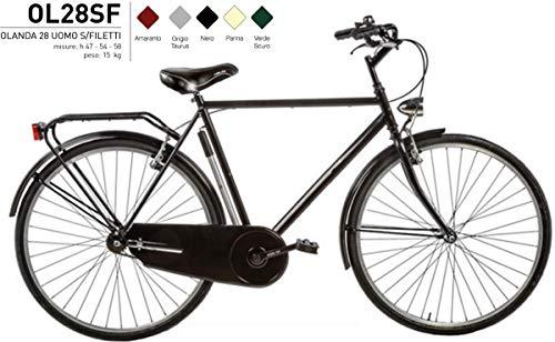 Bici Misura 28 Olanda Uomo Senza FILETTI Passeggio Olandese Art. OL28SF (Nero, 54 CM)