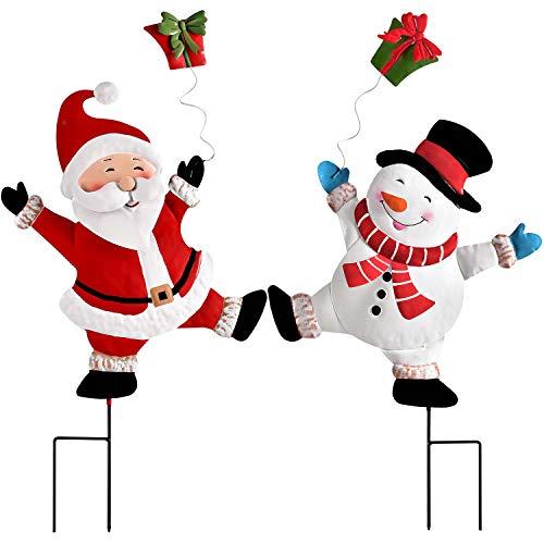 YQing 2 Stück Schneemann Weihnachtsmann Hofschilder Weihnachten Deko, Christmas Yard Signs Dekoratives Zeichen Garten Deko Außen Gartenschilder für Rasen Outdoor Pathway Zeichen