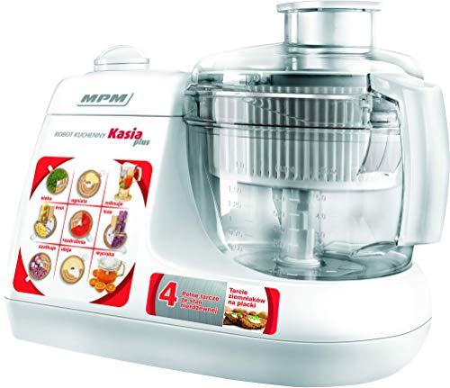 MPM MRK-11 Elektrische Küchenmaschine, Kneter, Mischer, Entsafter, Mixer, Mühle, 1,5 L, All in One, 800 W, 1.5 liters, Weiß